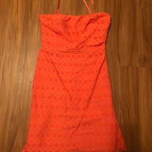 Strapless coral J. Crew dress